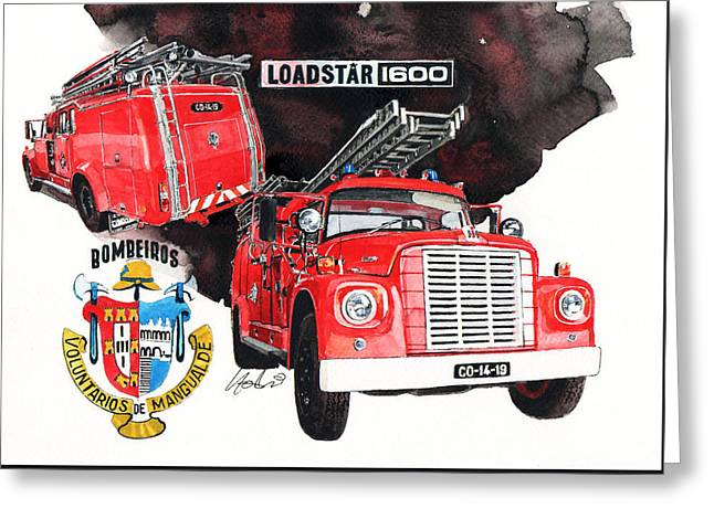 Fire Engines Greeting Cards - International Loadstar 1600 Fire Engine Greeting Card by Yoshiharu Miyakawa