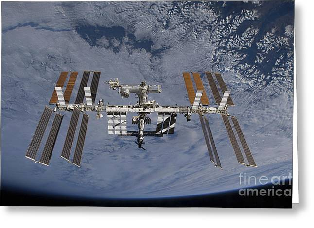 Satellite View Greeting Cards - International Space Station Set Greeting Card by Stocktrek Images