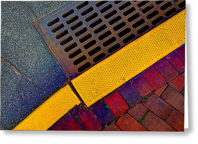 Rectangles Greeting Cards - Intersection Of Shapes And Colors On The Street Greeting Card by Gary Slawsky