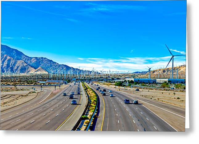 New Energies Greeting Cards - Interstate 10 in Palm Springs Greeting Card by Art K