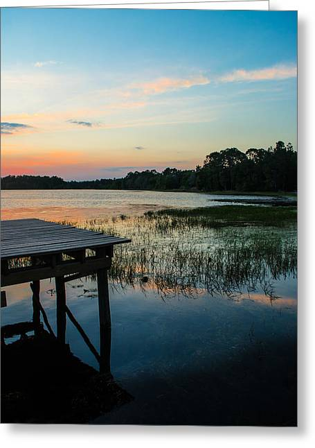 Wooden Dock Greeting Cards - Intertwining Colors Greeting Card by Shelby  Young