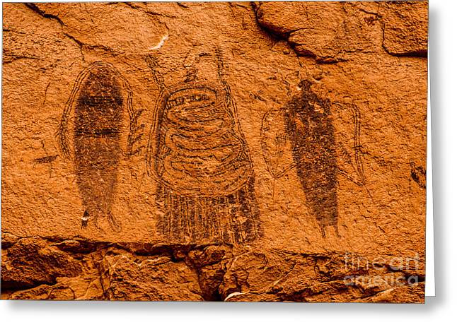 Pictograph Greeting Cards - Intestine Man Pictograph - Moab - Utah Greeting Card by Gary Whitton