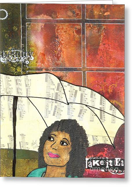 Jubilation Greeting Cards - Into EVERY Life Some Rain Must Fall... SING Anyway Greeting Card by Angela L Walker