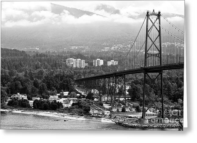 North Vancouver Greeting Cards - Into North Vancouver mono Greeting Card by John Rizzuto