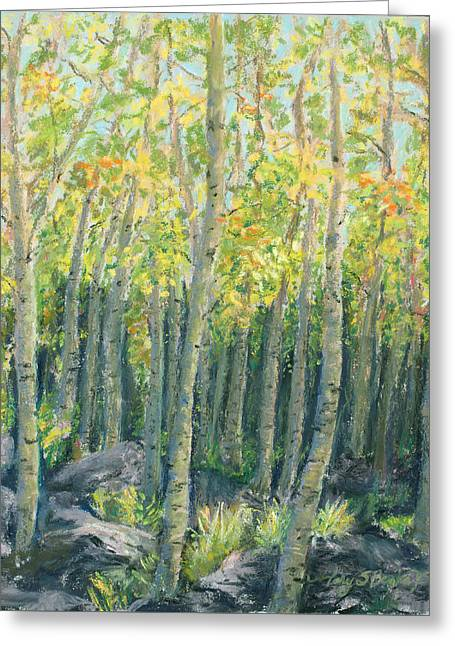 Fall Colors Pastels Greeting Cards - Into the Aspens Greeting Card by Mary Benke