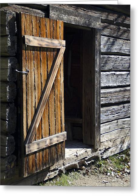 Barn Door Greeting Cards - Into the Barn Greeting Card by Deb Barchus