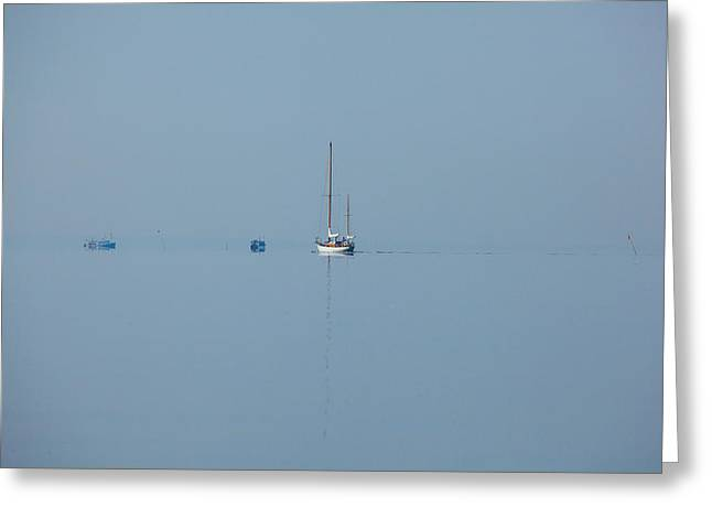 Blue Sailboats Greeting Cards - Into The Blue Greeting Card by Karol  Livote