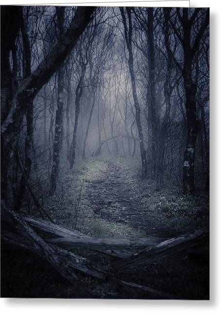 Ghostly Greeting Cards - Into the Blue Ridge Parkway Greeting Card by Griffey