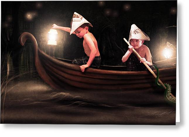 Night Lamp Greeting Cards - Into the Bog Greeting Card by Jeremy Martinson
