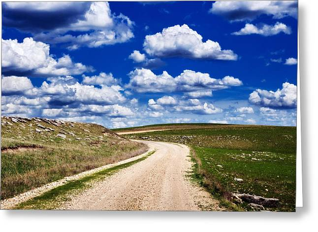 Gravel Road Greeting Cards - Into the Clouds Greeting Card by Eric Benjamin