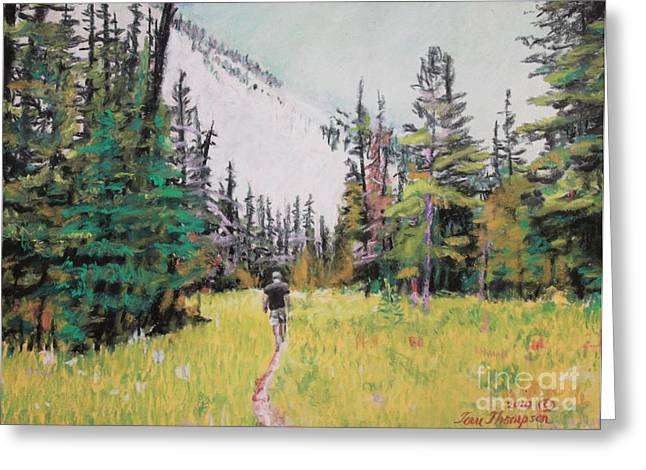 Hiking Pastels Greeting Cards - Into the Hike Greeting Card by Terri Thompson