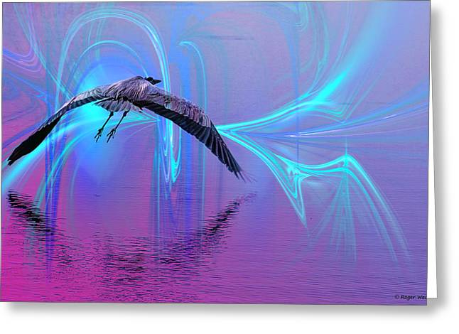 Blue Abstracts Greeting Cards - Into The Lagoon Greeting Card by Roger Wedegis