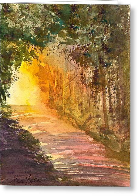 Into The Light Greeting Card by Frank SantAgata