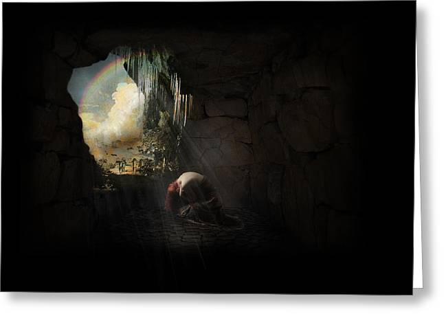 Dungeons Mixed Media Greeting Cards - Into The Light Greeting Card by Terry Fleckney