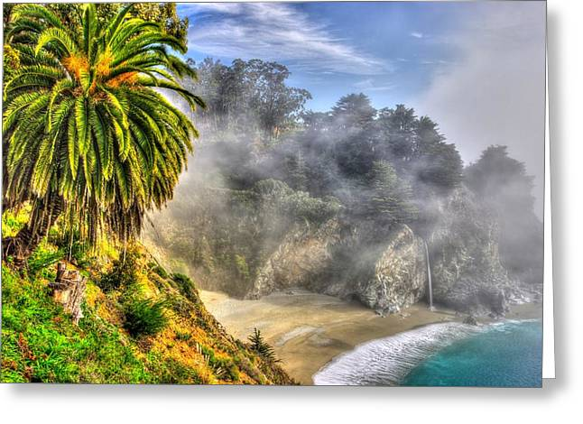 Big Sur Beach Greeting Cards - Into the Mist - Mc Way Falls Julia Pfeiffer State Park - Big Sur Central California Coast Spring Greeting Card by Michael Mazaika