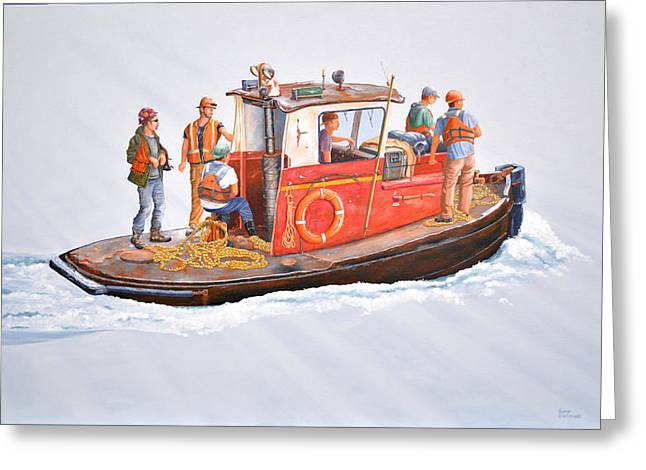 Crew Greeting Cards - Into the mist-The crew boat Greeting Card by Gary Giacomelli
