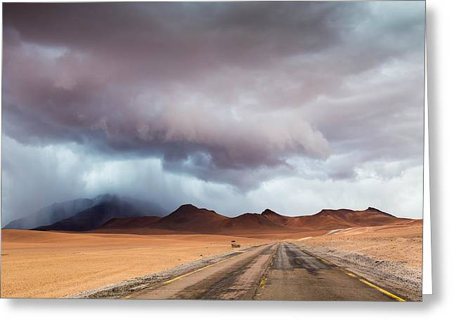 Mountain Road Greeting Cards - Into the Rain Greeting Card by Gunnar Heilmann