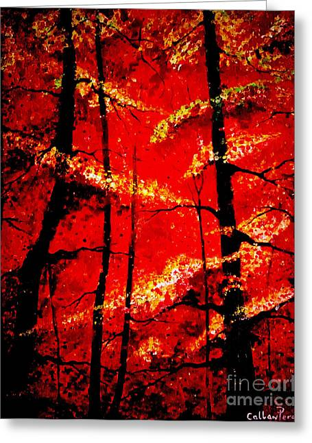 Print On Canvas Greeting Cards - Into The Red Forest Greeting Card by Callan Percy