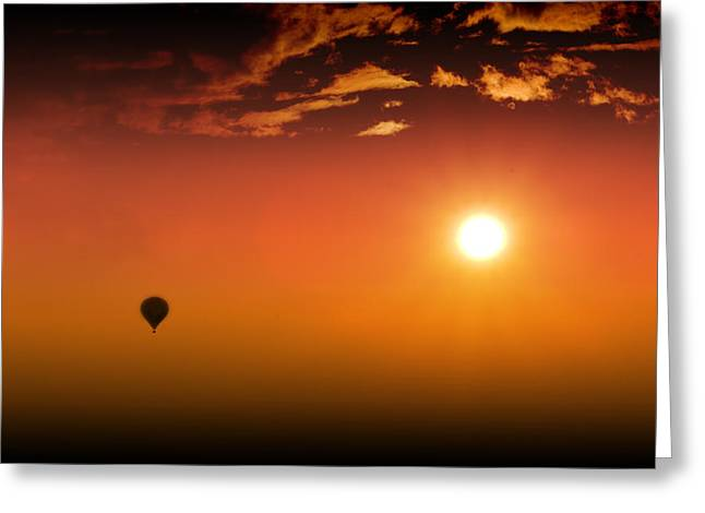 Balloon Aircraft Greeting Cards - Into the Sunset Greeting Card by Barbara  White