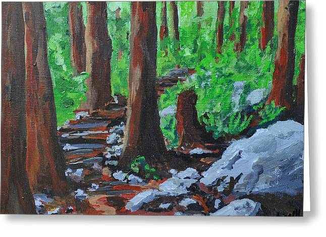 Into The Woods Greeting Card by Caroline Liggett