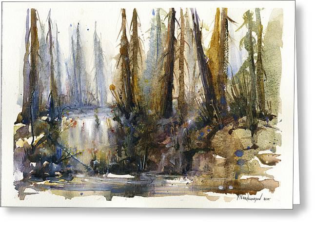 Into The Woods Greeting Card by Kristina Vardazaryan