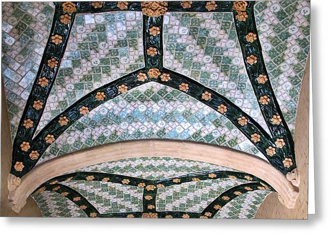 Pau Spanish Greeting Cards - Intricate Tile and Ceramic Ceiling Greeting Card by Dave Mills