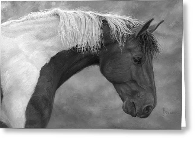 Intrigued - Black And White Greeting Card by Lucie Bilodeau
