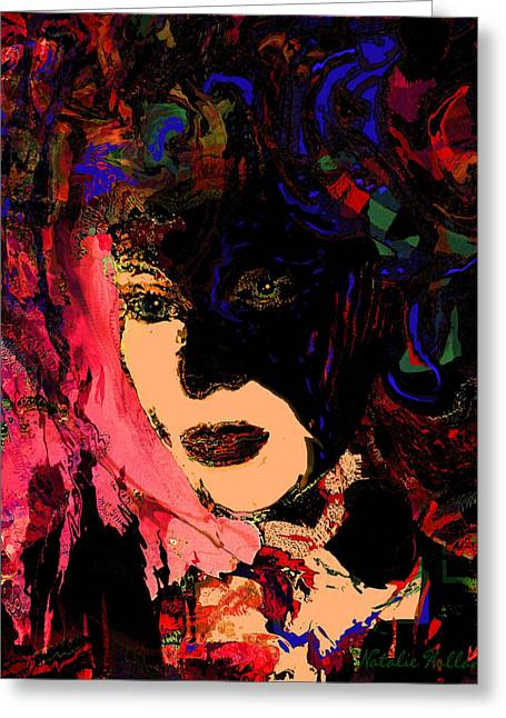 Intriguing Woman Greeting Card by Natalie Holland