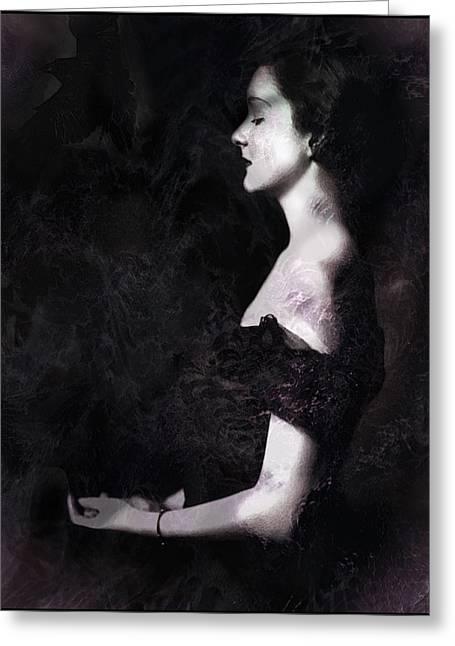 Lemke Digital Art Greeting Cards - Dark Midnight Raven Greeting Card by Rebecca  Lemke
