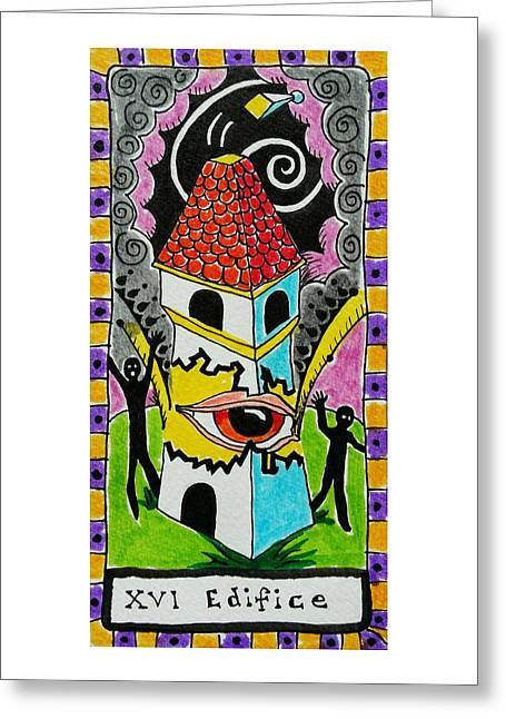 Talking Drawings Greeting Cards - Intuitive Catalyst Card - Edifice Greeting Card by Corey Habbas