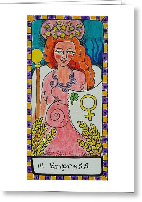 Talking Drawings Greeting Cards - Intuitive Catalyst Card - Empress Greeting Card by Corey Habbas