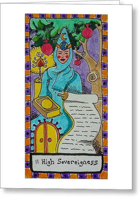 Talking Drawings Greeting Cards - Intuitive Catalyst Card - High Sovereigness Greeting Card by Corey Habbas