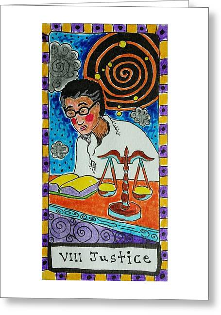 Stellar Drawings Greeting Cards - Intuitive Catalyst Card - Justice Greeting Card by Corey Habbas