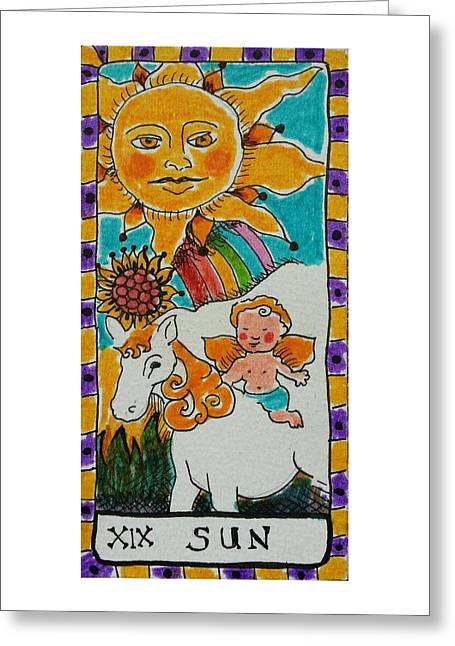 Talking Drawings Greeting Cards - Intuitive Catalyst Card - Sun Greeting Card by Corey Habbas
