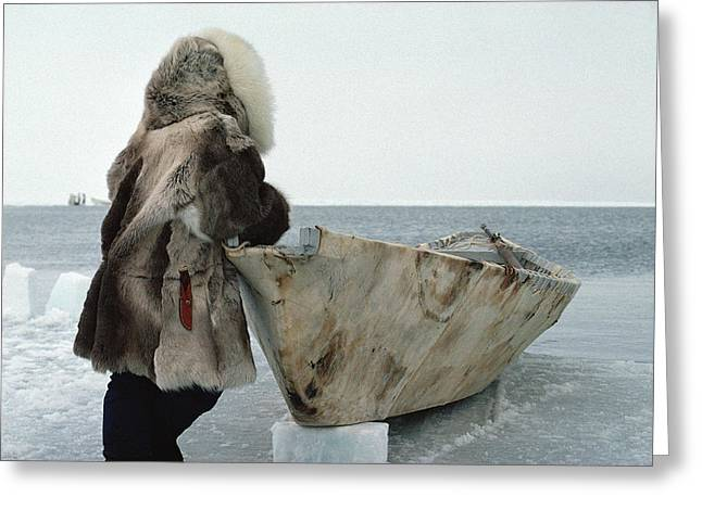 Three-quarter Length Greeting Cards - Inuit Hunter In Traditional Clothes Greeting Card by Flip Nicklin