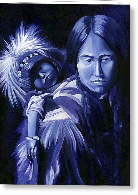 Monotone Paintings Greeting Cards - Inuit Mother and Child Greeting Card by Nancy Griswold