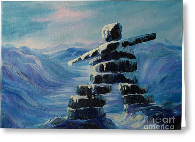 Northern Canada Greeting Cards - Inukshuk My Northern Compass Greeting Card by Joanne Smoley