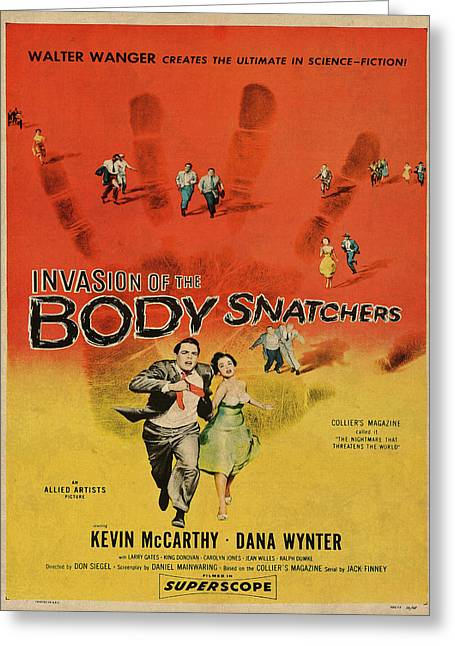 Invasion Of The Bodysnatchers Vintage Movie Poster Greeting Card by Design Turnpike