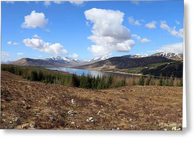 Invergarry Cairns Panorama Greeting Card by Victoria Whitehead