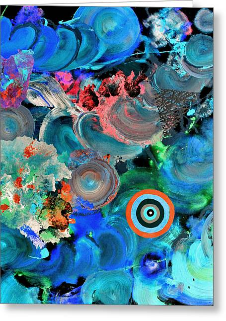 Fluid Greeting Cards - Inverted painting pop fluid 6 Greeting Card by Sumit Mehndiratta