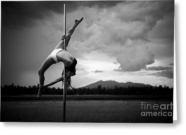 Inverted Splits Pole Dance Greeting Card by Scott Sawyer