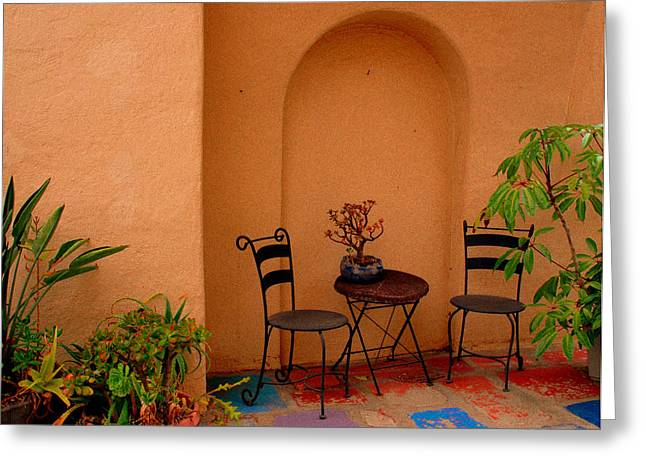 Table And Chairs Greeting Cards - Invitation Greeting Card by Susanne Van Hulst