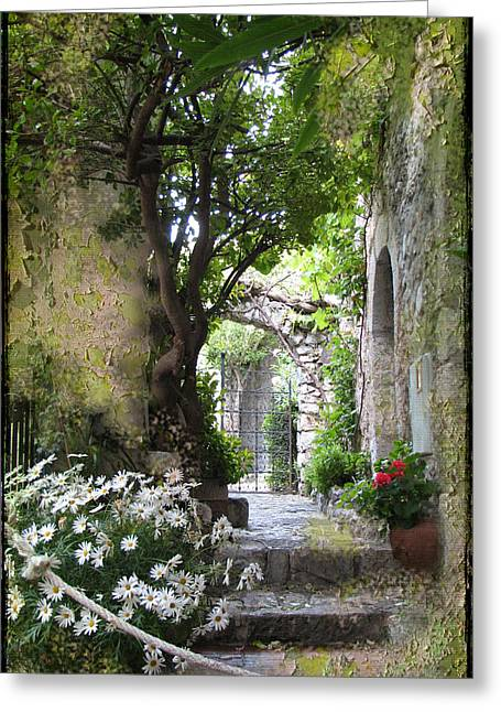 Provence Village Greeting Cards - Inviting Courtyard Greeting Card by Carla Parris