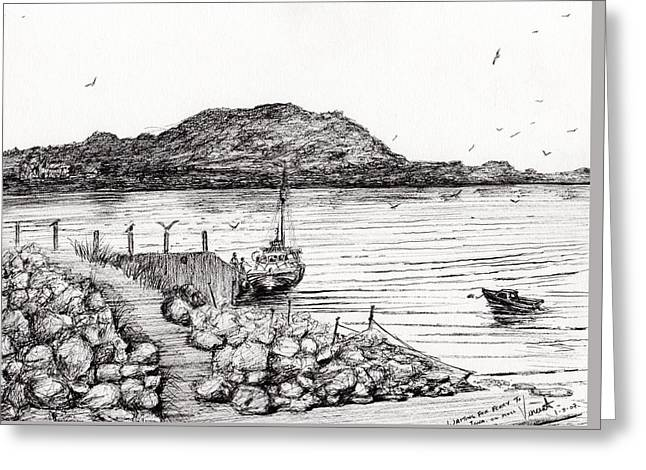 Water Vessels Drawings Greeting Cards - Iona from Mull Greeting Card by Vincent Alexander Booth