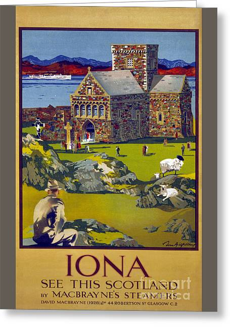 Europe Mixed Media Greeting Cards - Iona Scotland Vintage Travel Poster Restored Greeting Card by Carsten Reisinger