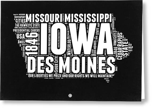 Iowa Greeting Cards - Iowa Black and White Map Greeting Card by Naxart Studio