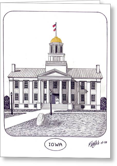 College Campus Buildings Drawings Greeting Cards - Iowa Greeting Card by Frederic Kohli