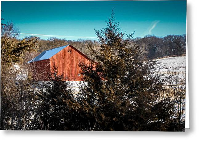 Old Barns Greeting Cards - Iowa Red Barn #2 Greeting Card by Jeffrey Henry