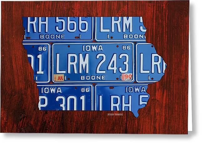 Rapids Mixed Media Greeting Cards - Iowa State License Plate Map Art Greeting Card by Design Turnpike