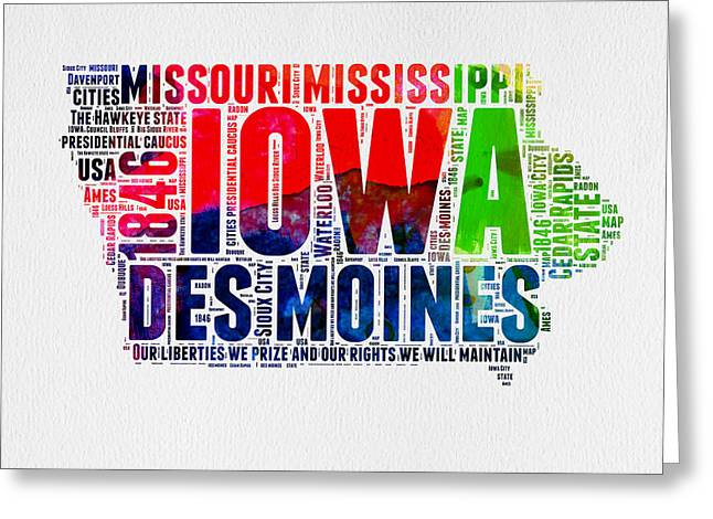 4th July Greeting Cards - Iowa Watercolor Word Cloud  Greeting Card by Naxart Studio